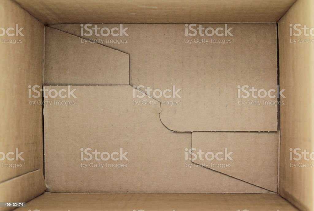 Empty package box, 3d view inner side. stock photo
