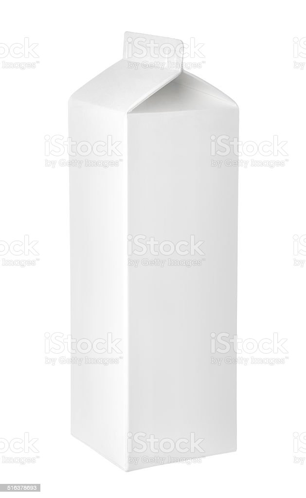 Empty packet of milk or juice on a white background stock photo