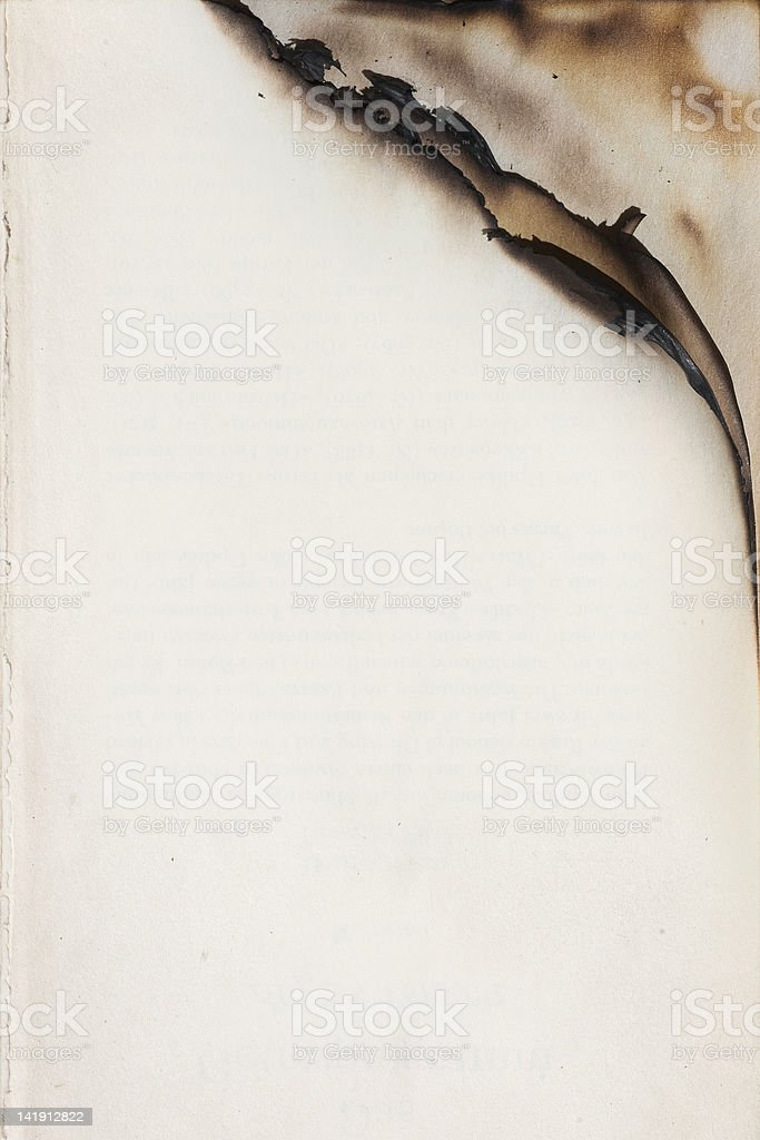 Empty pages with burnt edge stock photo