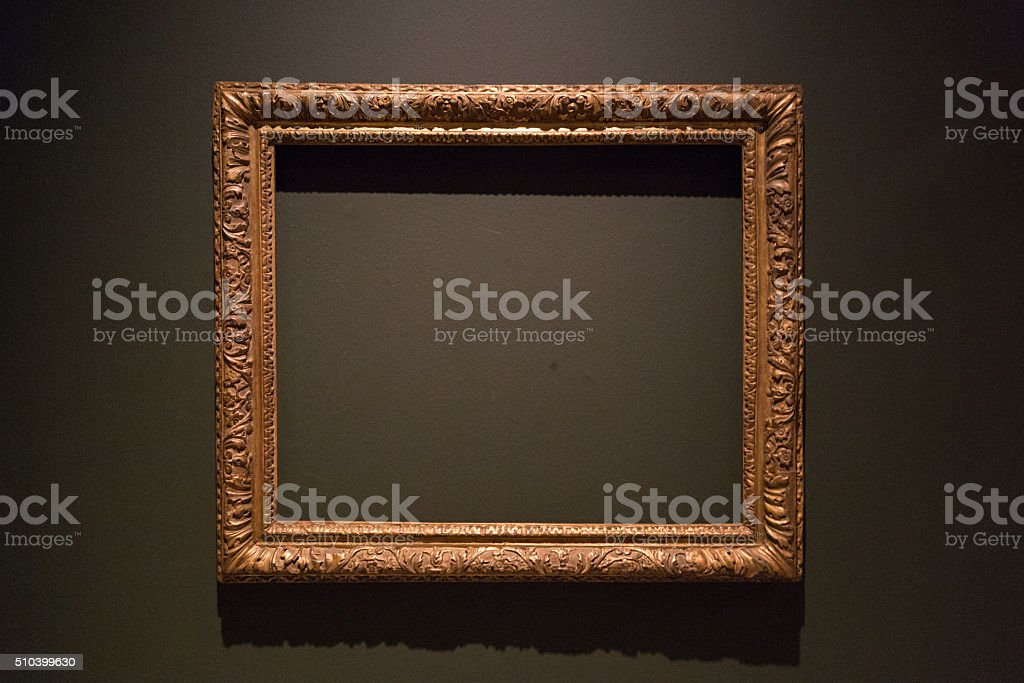 Empty painting frame stock photo