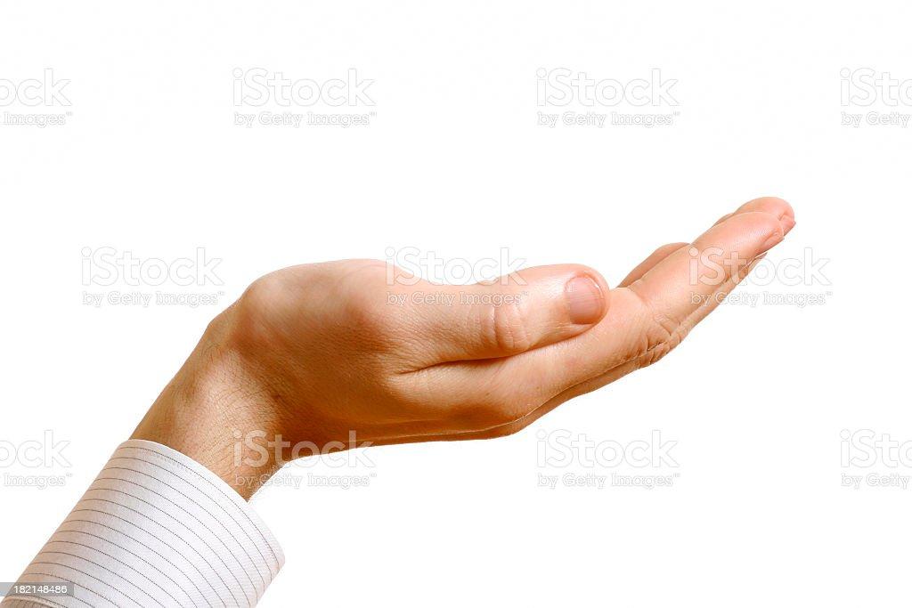 Empty palm held upward on a white background royalty-free stock photo