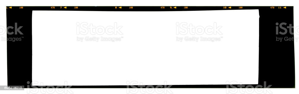 Empty panoramic large format 6x17cm color slide 120 or 220 type (60mm) medium format film strip template with copy space isolated on white background with work path. stock photo