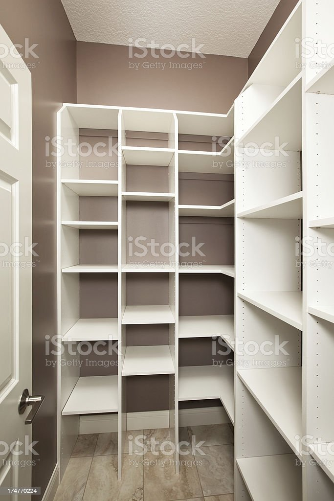 Empty Pantry or Closet with Storage Cubbies stock photo