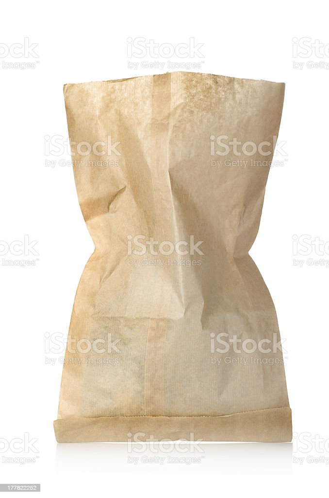 Empty paper bag isolated royalty-free stock photo