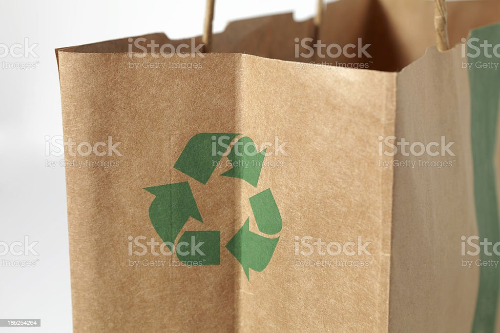 empty paper bag with recycling sign royalty-free stock photo