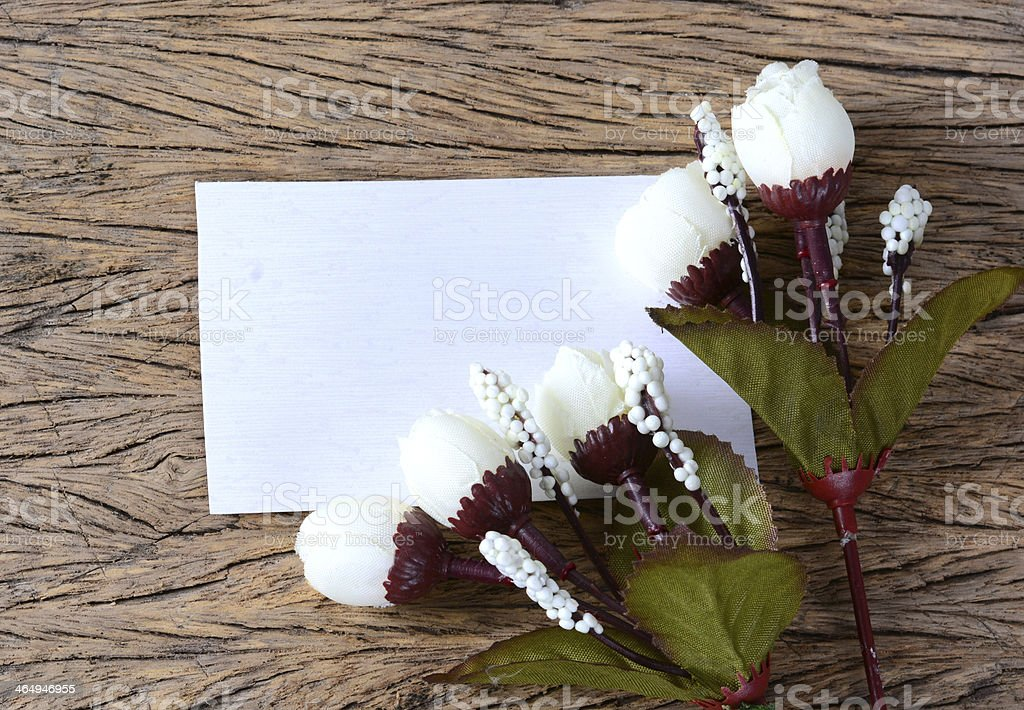 empty paper card with spring flowers stock photo
