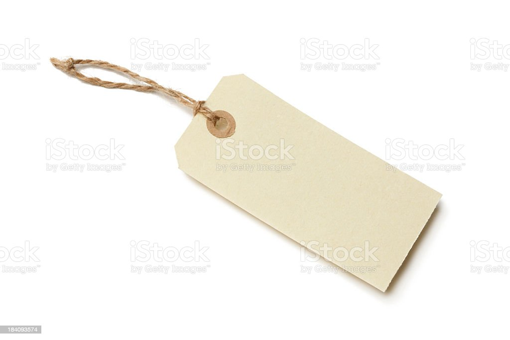 Empty paper price tag on white background stock photo
