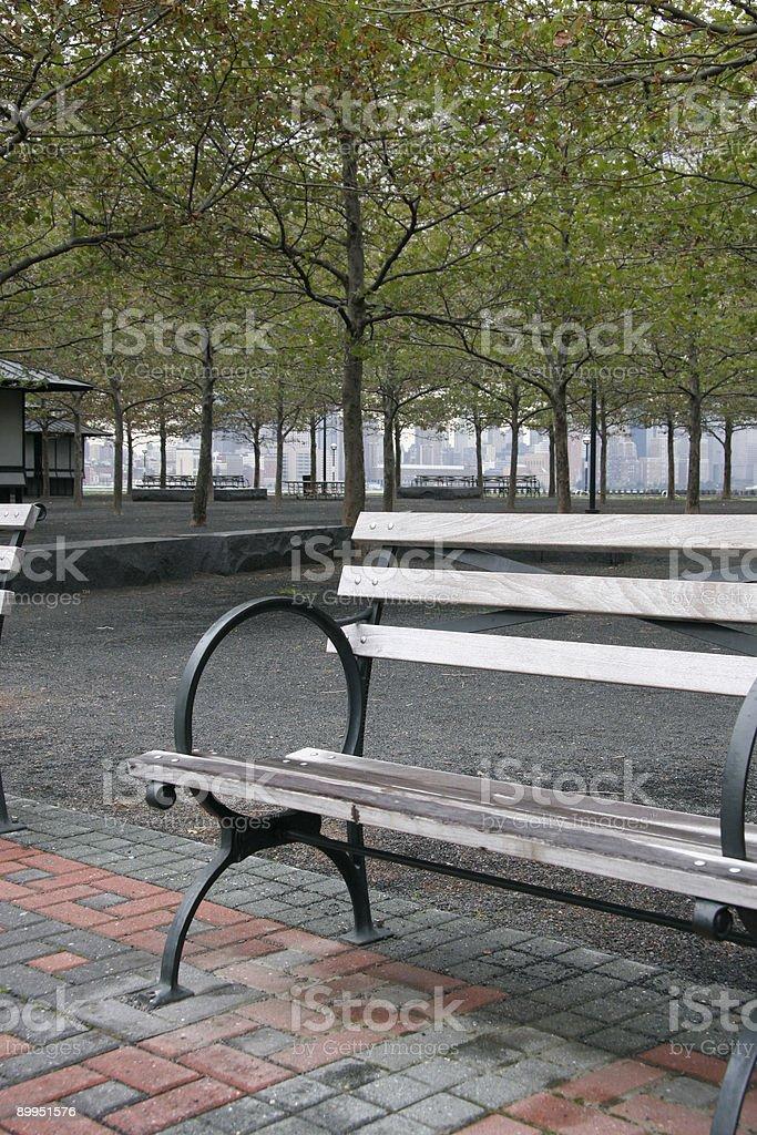 Empty Park Bench royalty-free stock photo