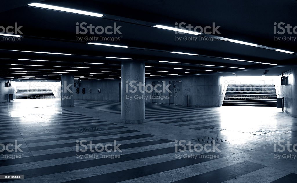 Empty Parkade, Black and White stock photo