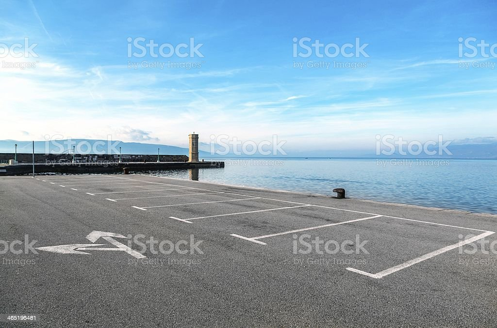 Empty parking area with sea landscape stock photo