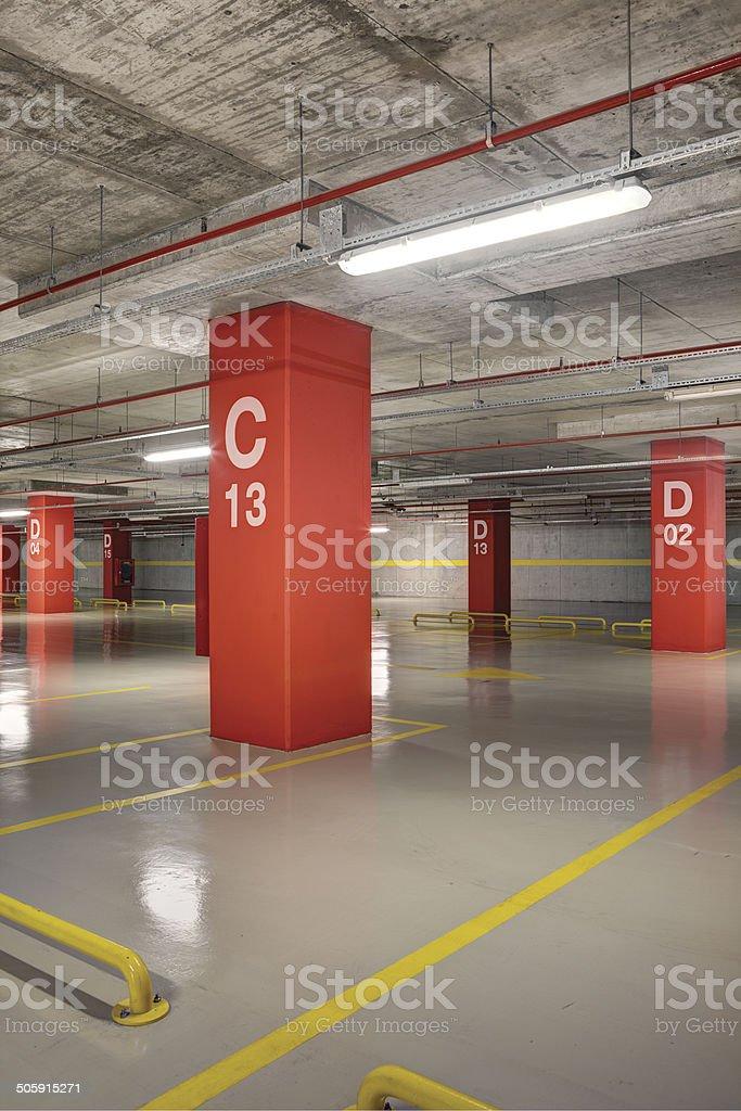 Empty Parking Garage Underground Interior stock photo