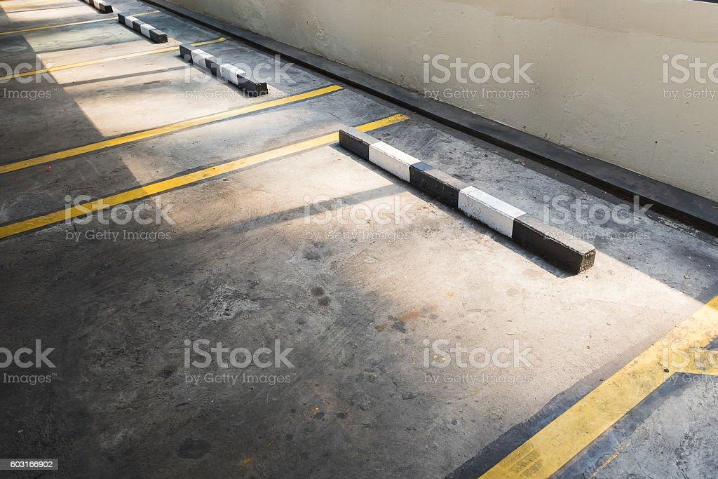 Empty parking lot in car parking floor stock photo