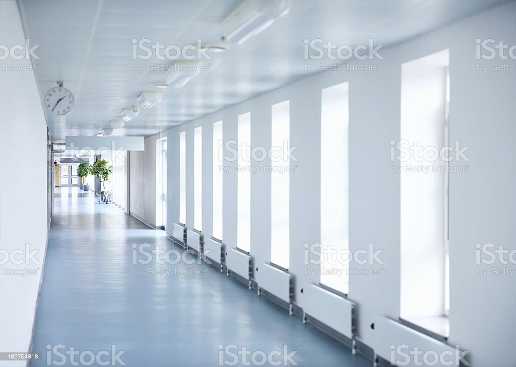 Empty passage way at hospital stock photo