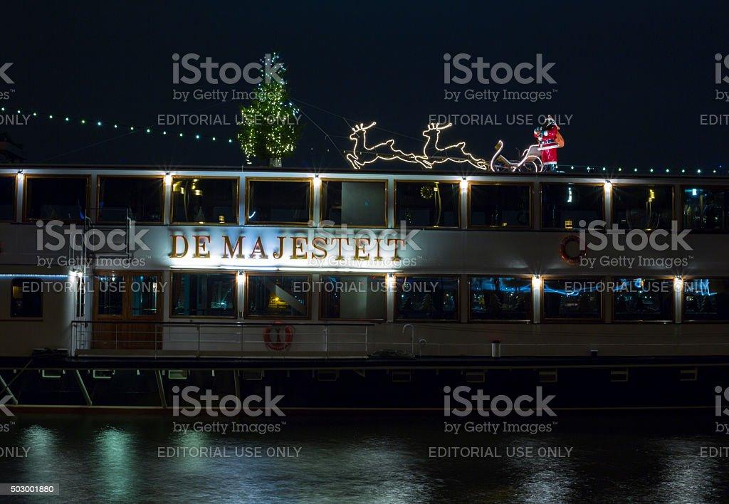 Empty passenger Ship at night stock photo