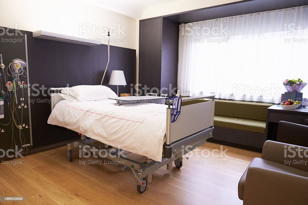 Empty Patient Room In Modern Hospital stock photo
