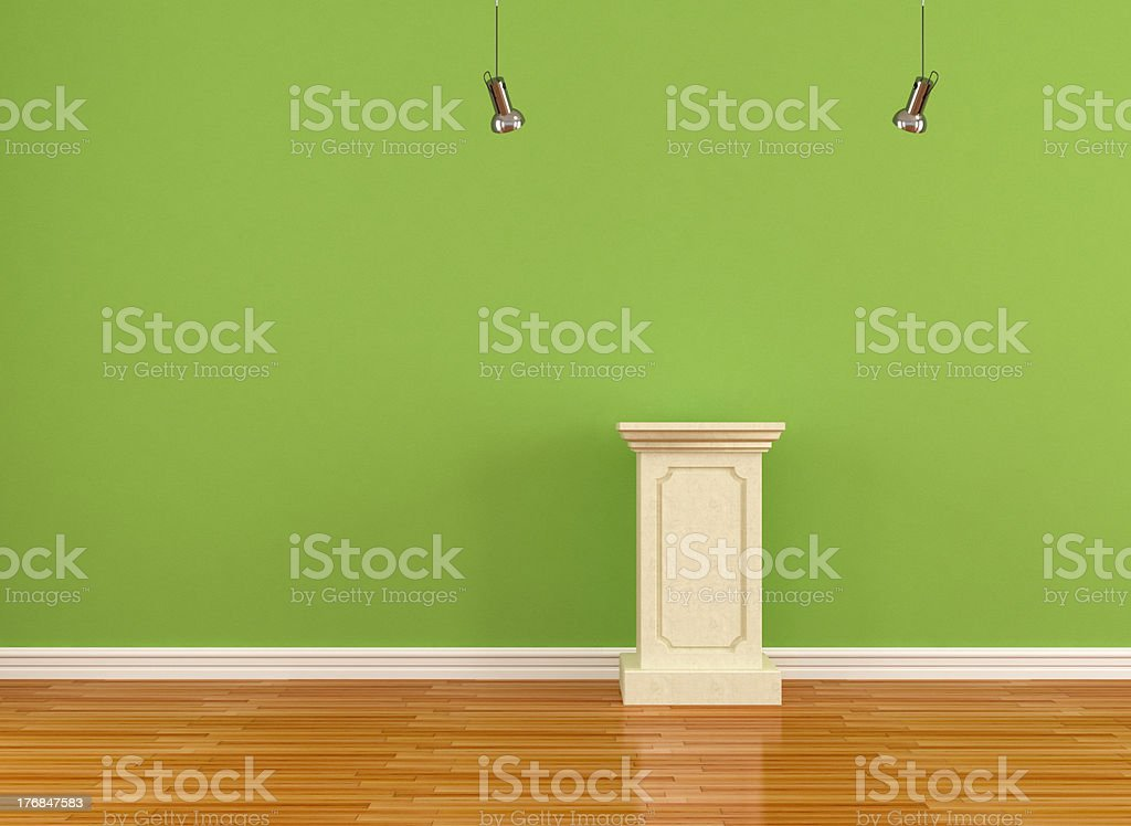 empty pedestal in a museum stock photo