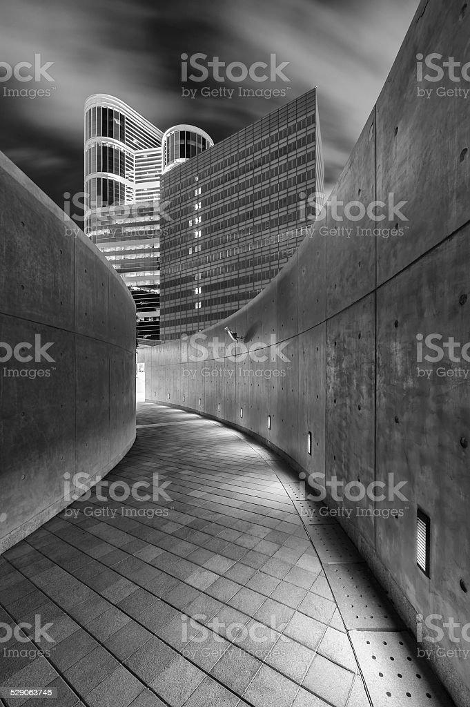 Empty pedestrian walkway stock photo