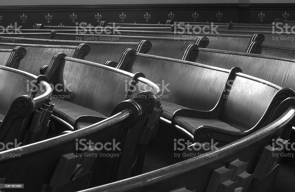 Empty Pews in Church, Black and White royalty-free stock photo