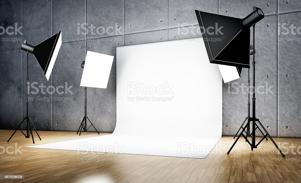 Empty photographic studio ready for shoot  stock photo