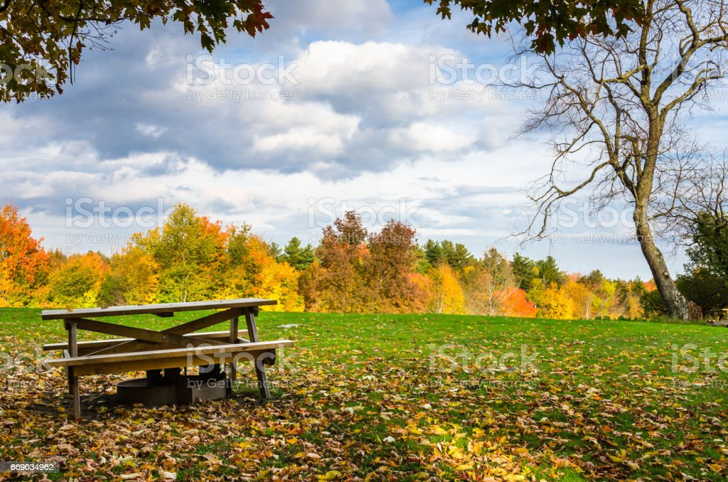 Empty Picnic Area in Autumn and Cloudy Sky stock photo