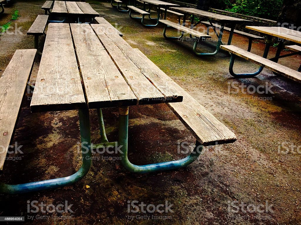 Empty picnic tables at park just before winter season royalty-free stock photo