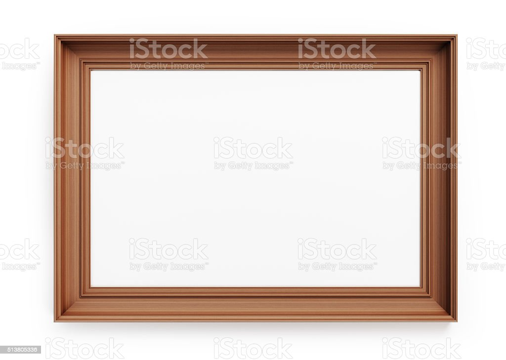 Empty Picture Frame Made of Wood stock photo