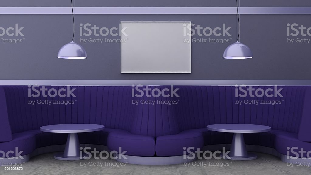 Empty picture frames in classic cafe interior background stock photo