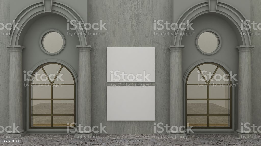 Empty picture frames in classic exteriour background stock photo