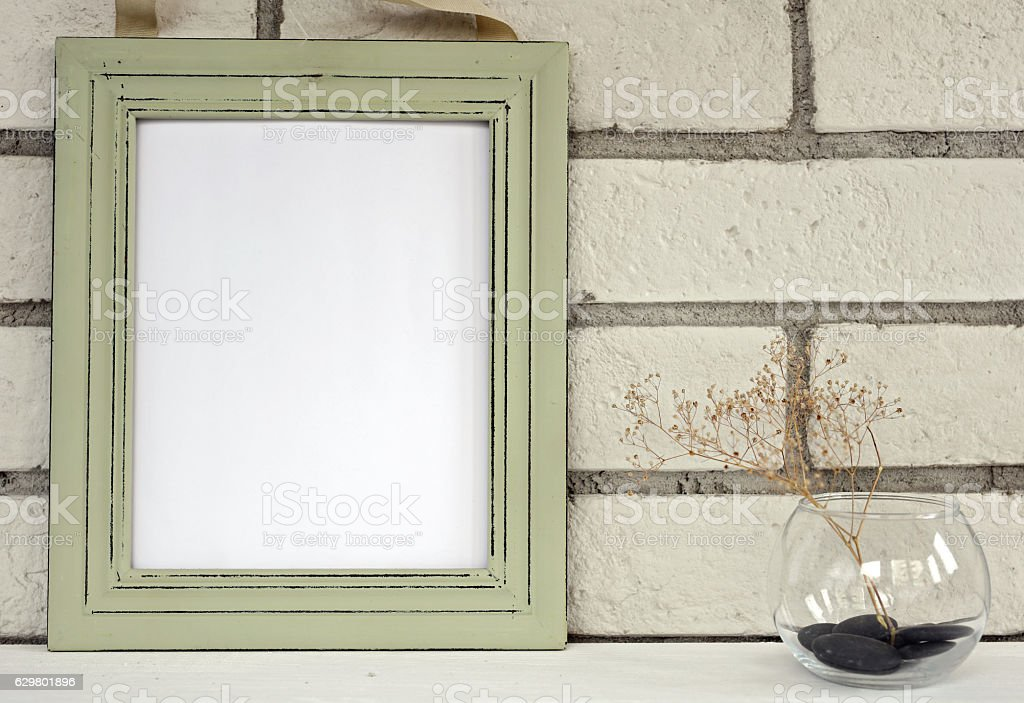 Empty picture in frame shabby chic, vintage style. stock photo