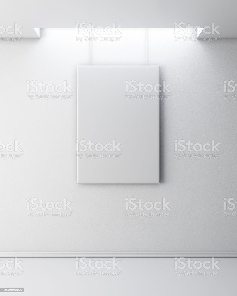 Empty picture on white wall. stock photo