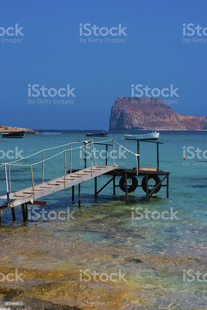 Empty pier in Balos Lagoon on Crete, Greece royalty-free stock photo
