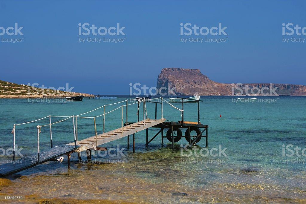 Empty pier in Balos Lagoon on Crete, Greece stock photo