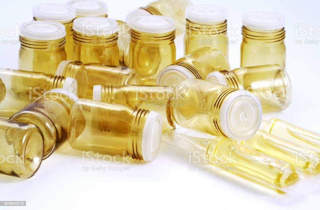 Empty pill bottles isolated on white background stock photo