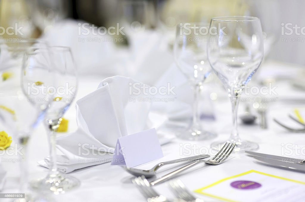 Empty place cards on the festive table stock photo