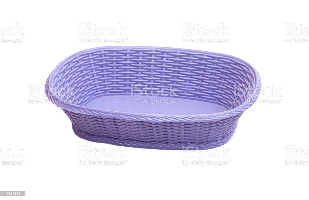 Empty plastic basket isolated on white background stock photo