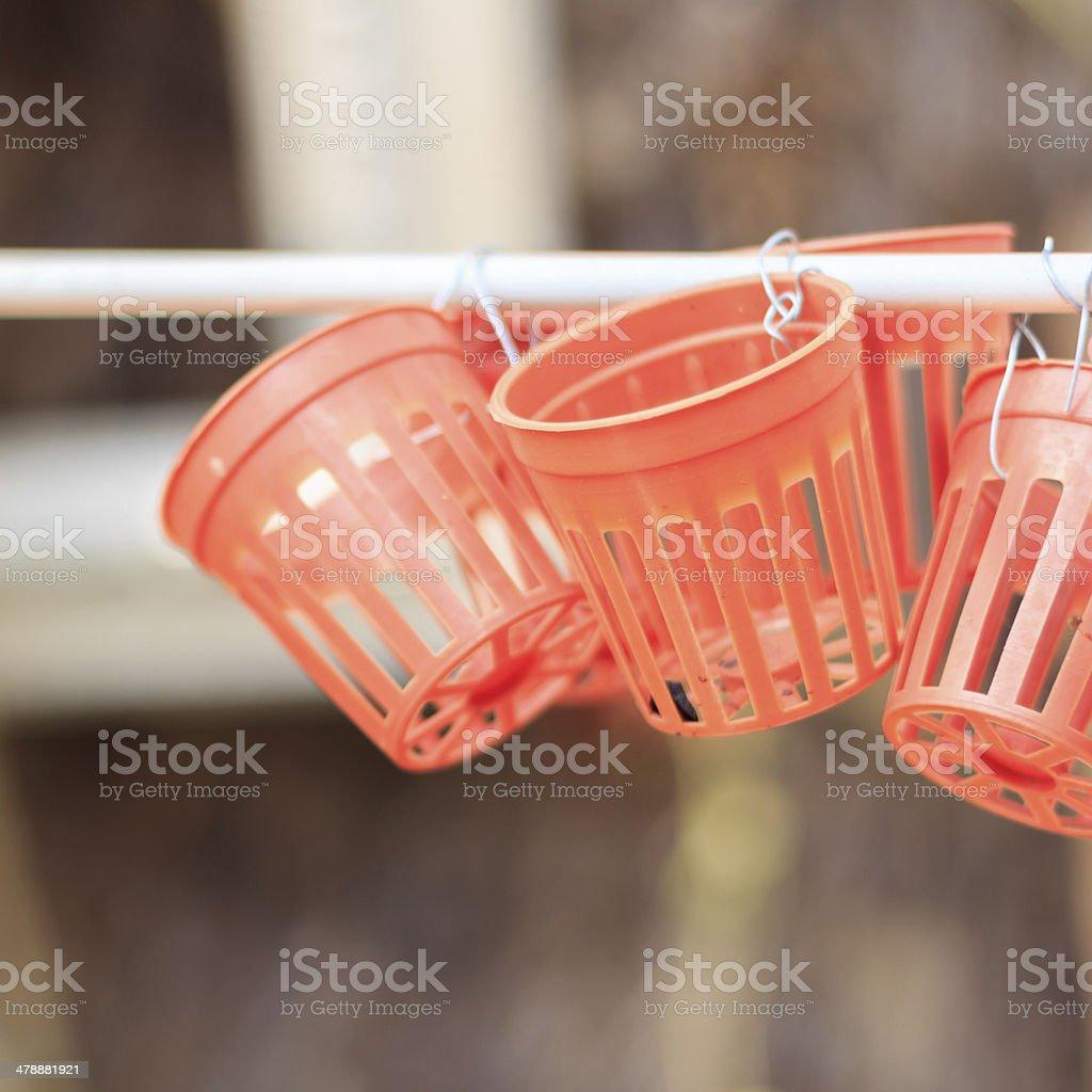 Empty plastic basket stock photo