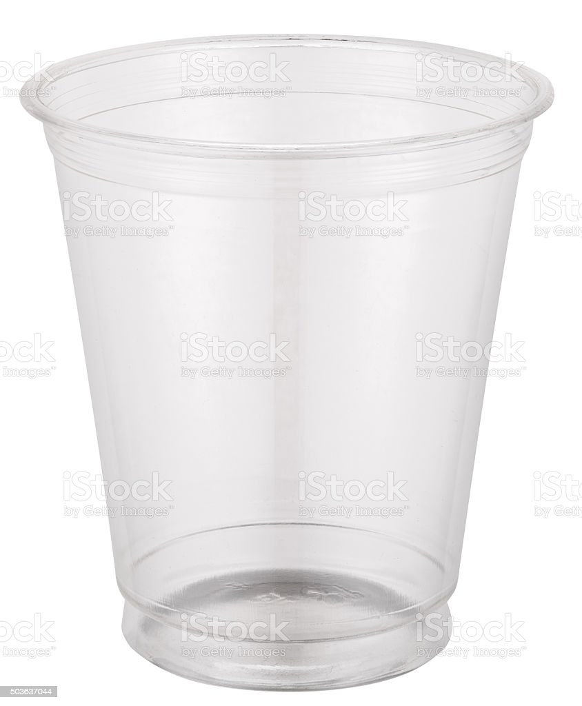 Empty plastic cup. stock photo
