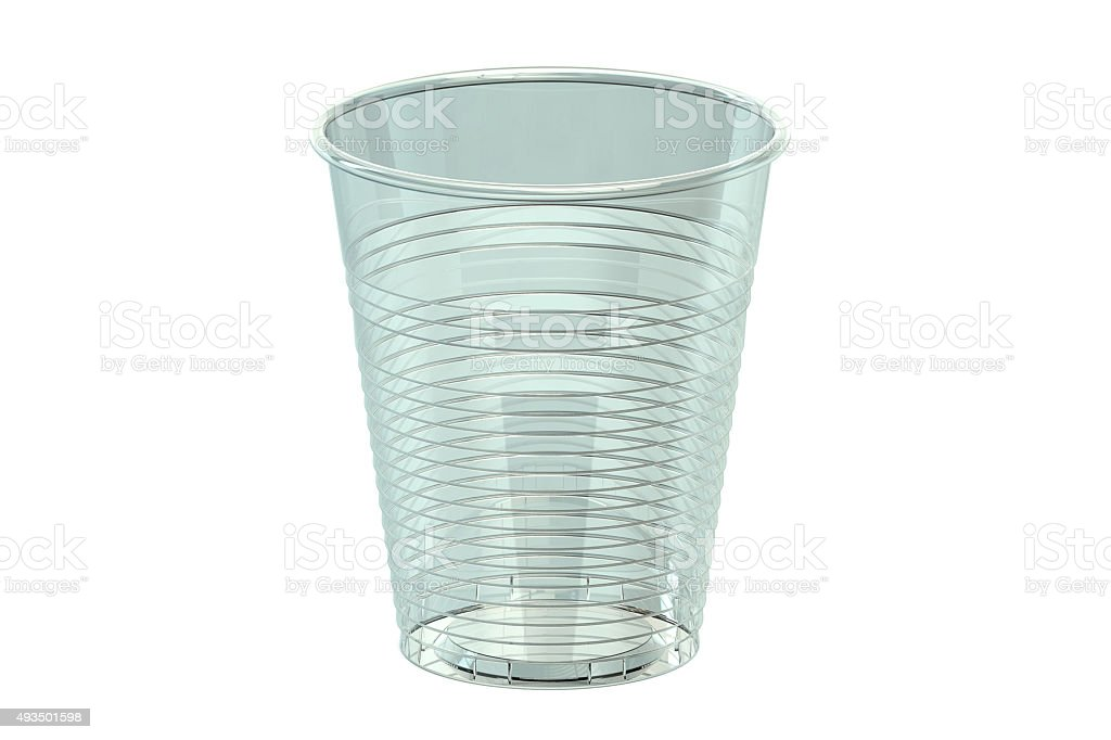 Empty plastic drinking cup stock photo