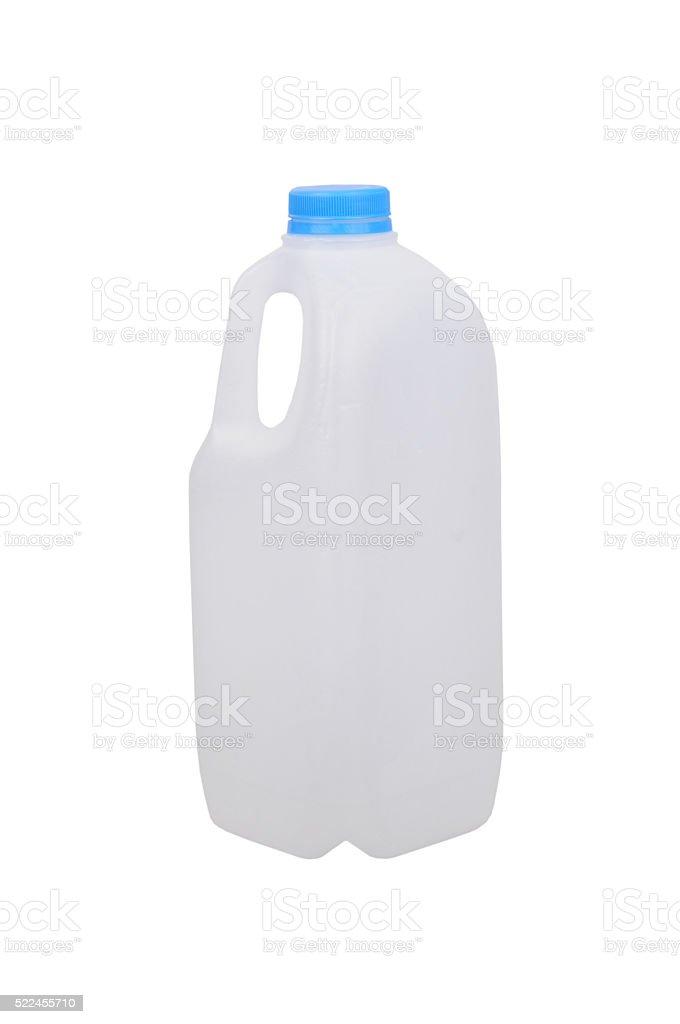 Empty Plastic Milk Bottle stock photo