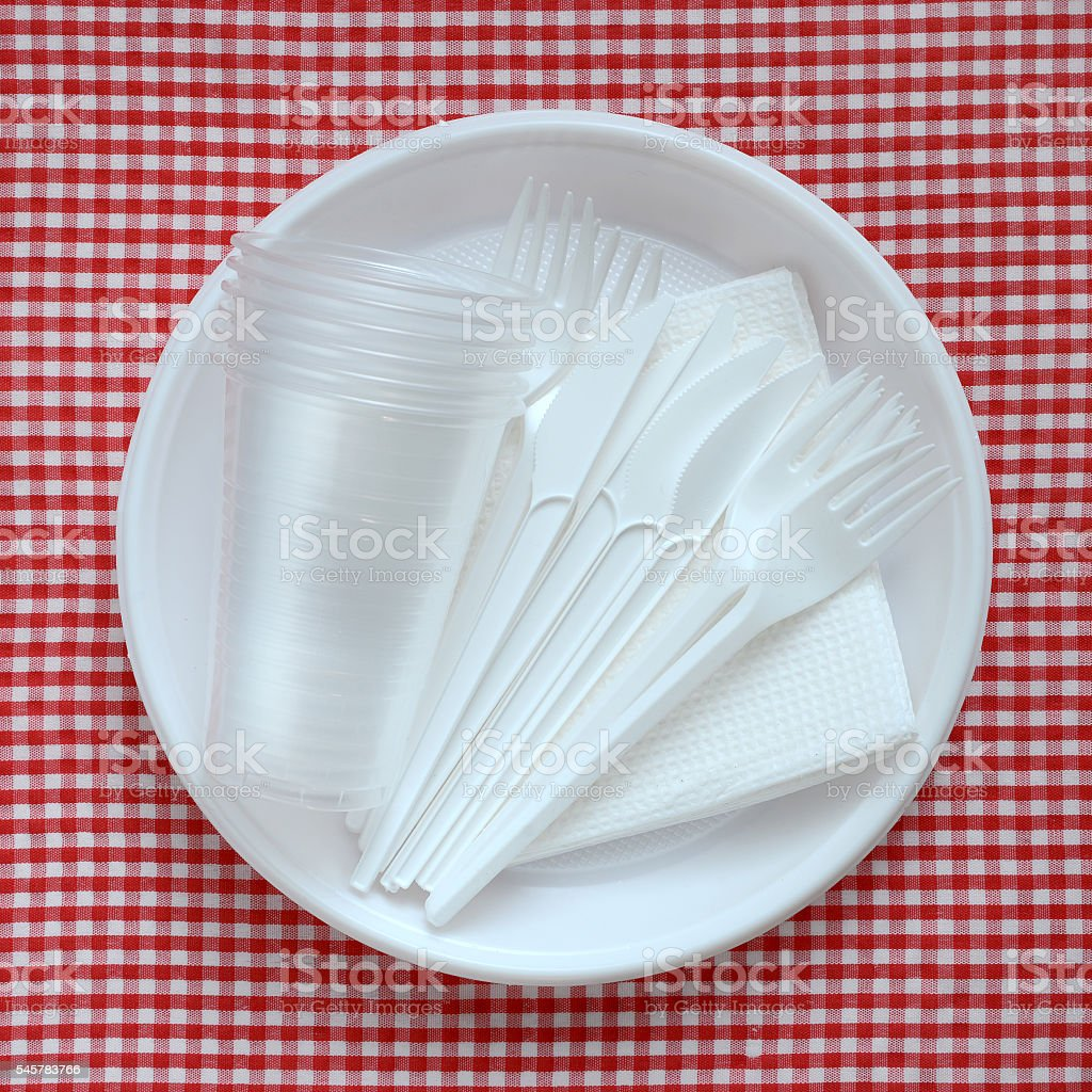 Empty plastic plate. stock photo