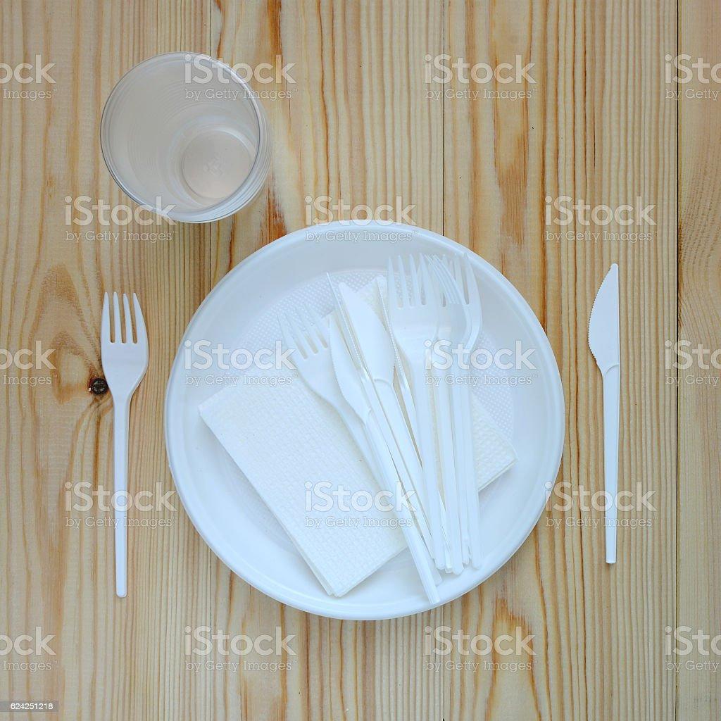 Empty plastic plate. stock photo