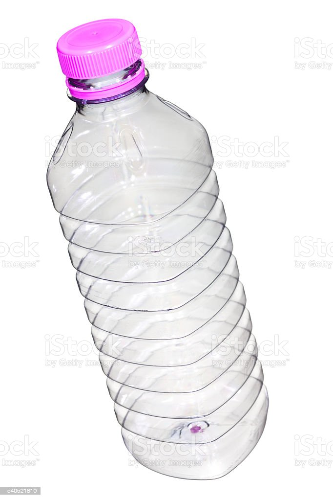 Empty plastic water bottle, on white. stock photo