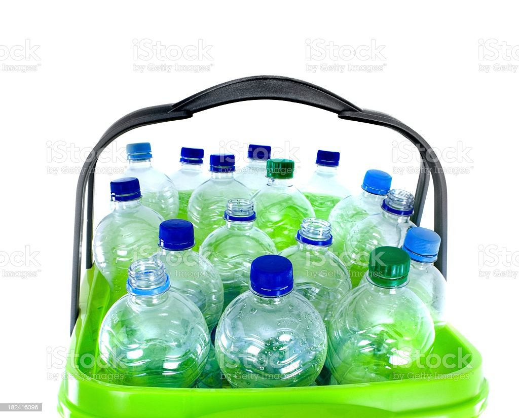empty plastic water bottles in a basket royalty-free stock photo