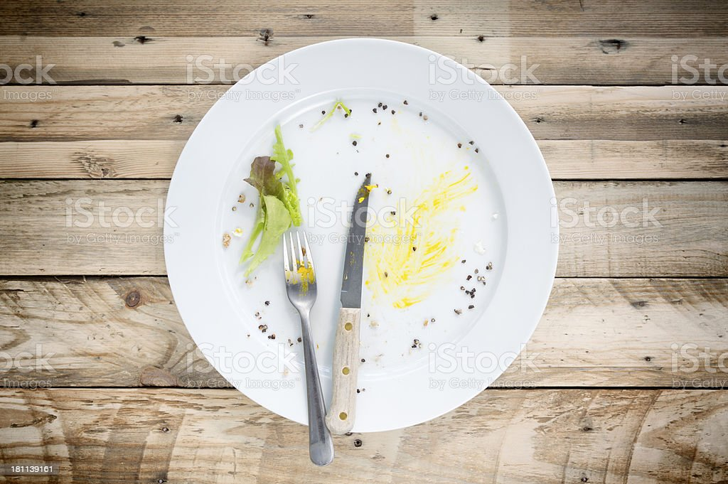 empty plate after brunch for washing up stock photo