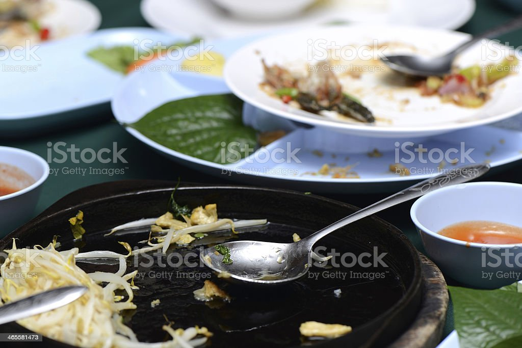 Empty plate after eating food in kitchen royalty-free stock photo