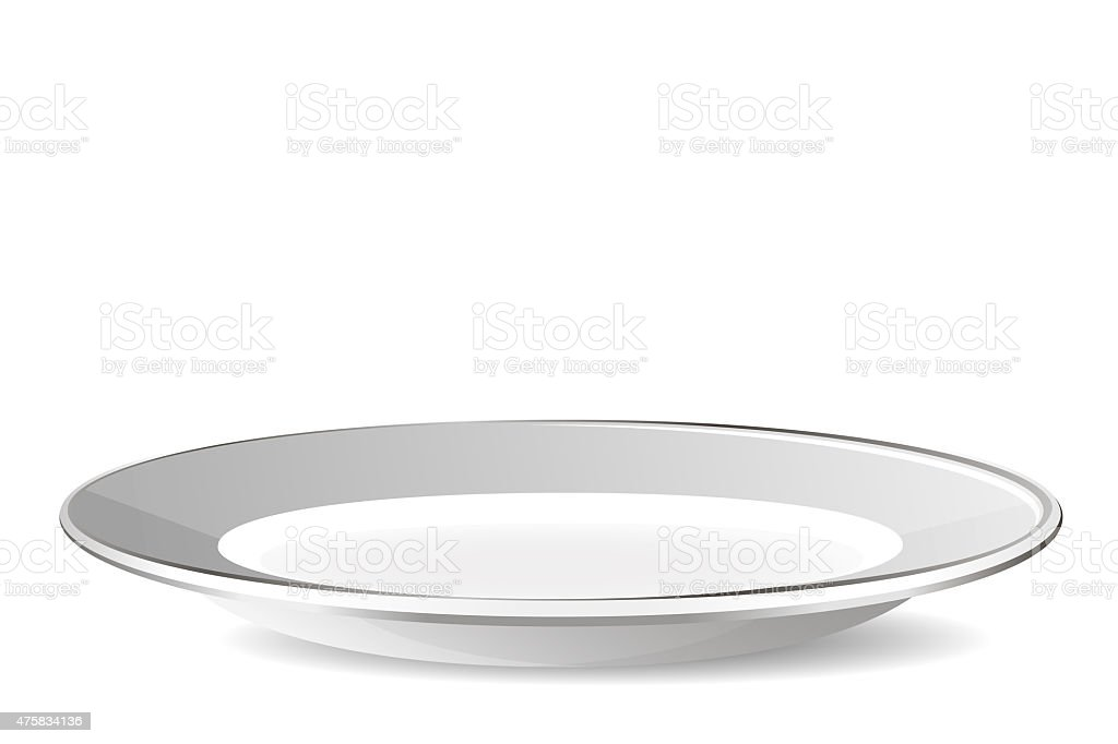 Empty plate isolated on a white background stock photo