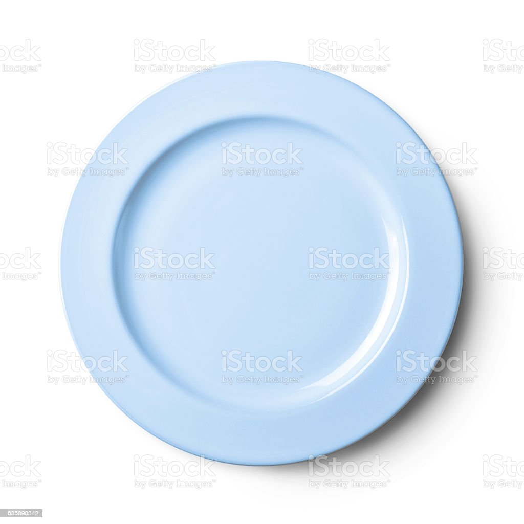 Empty plate Isolated on white background with clipping path stock photo