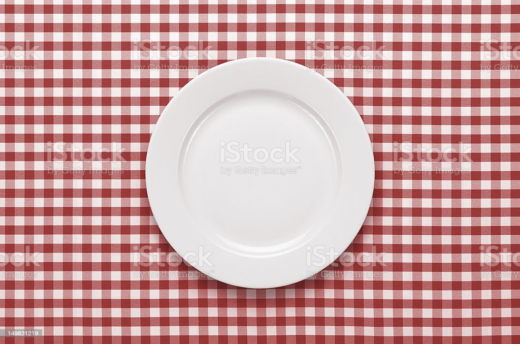 Empty plate at the table stock photo