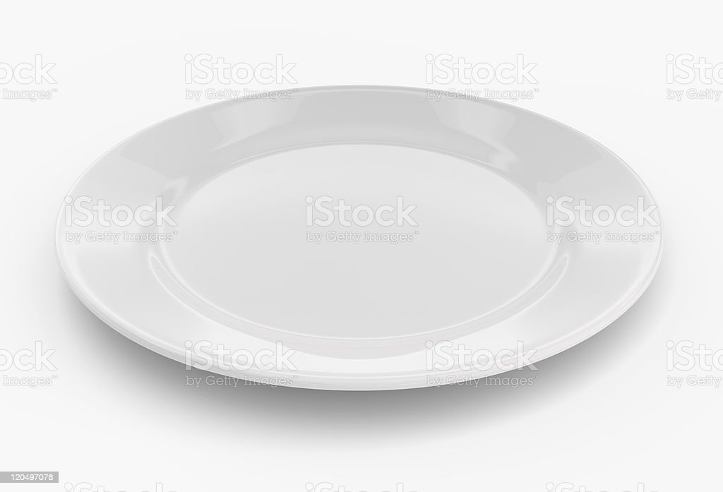 Empty plate on white stock photo