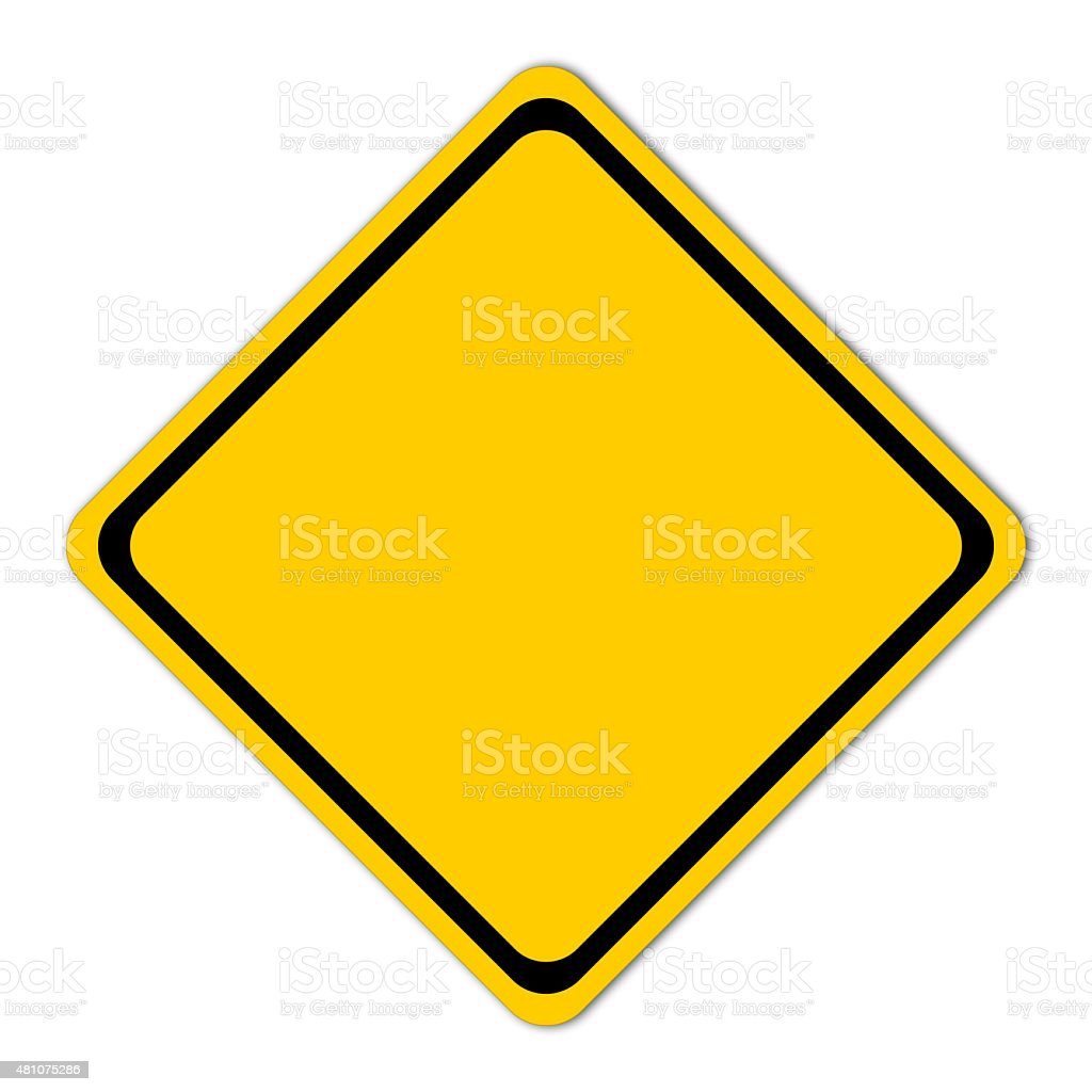 Empty plate warning road sign stock photo